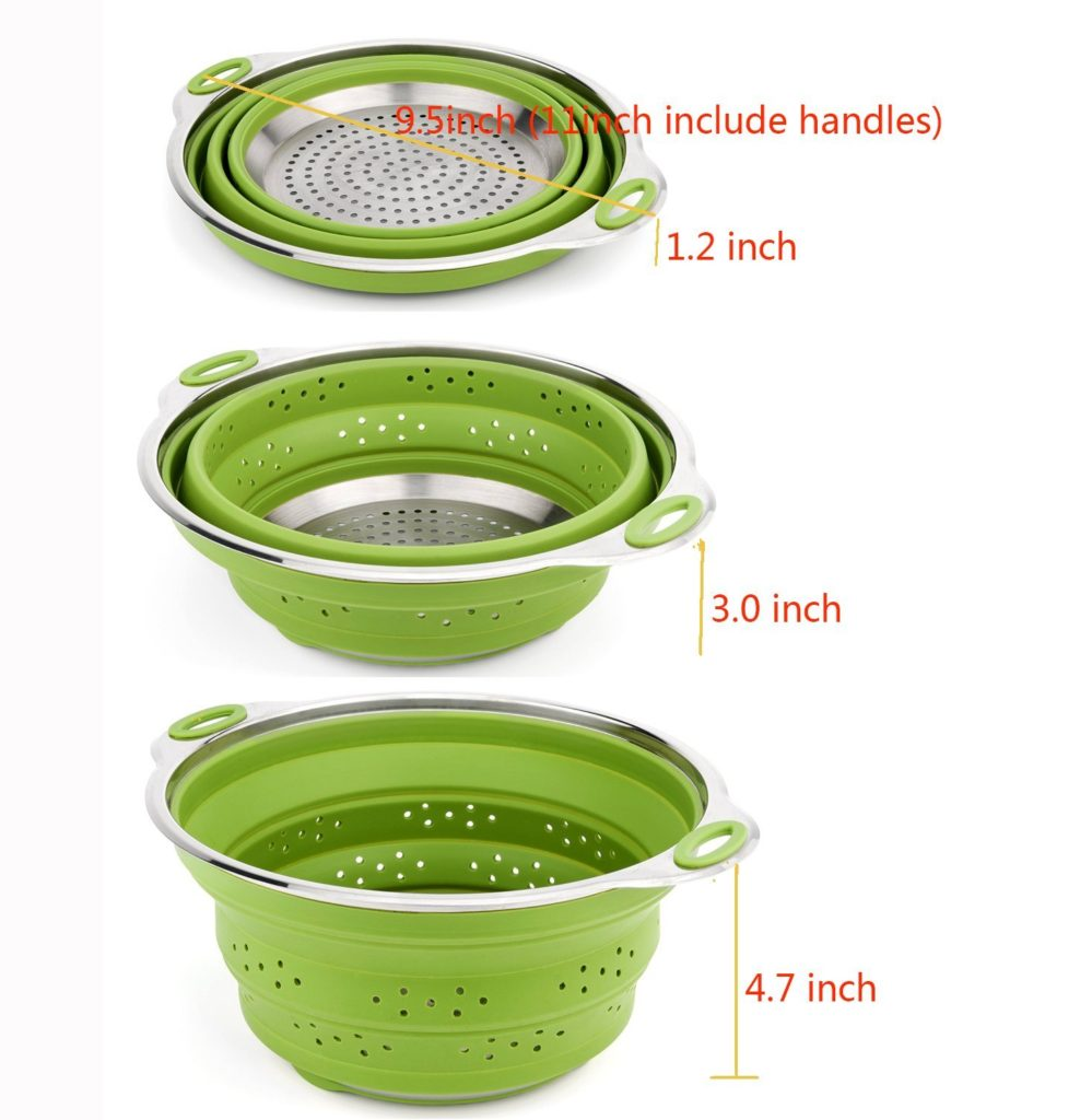 silicone foldable steamer basket and strainer