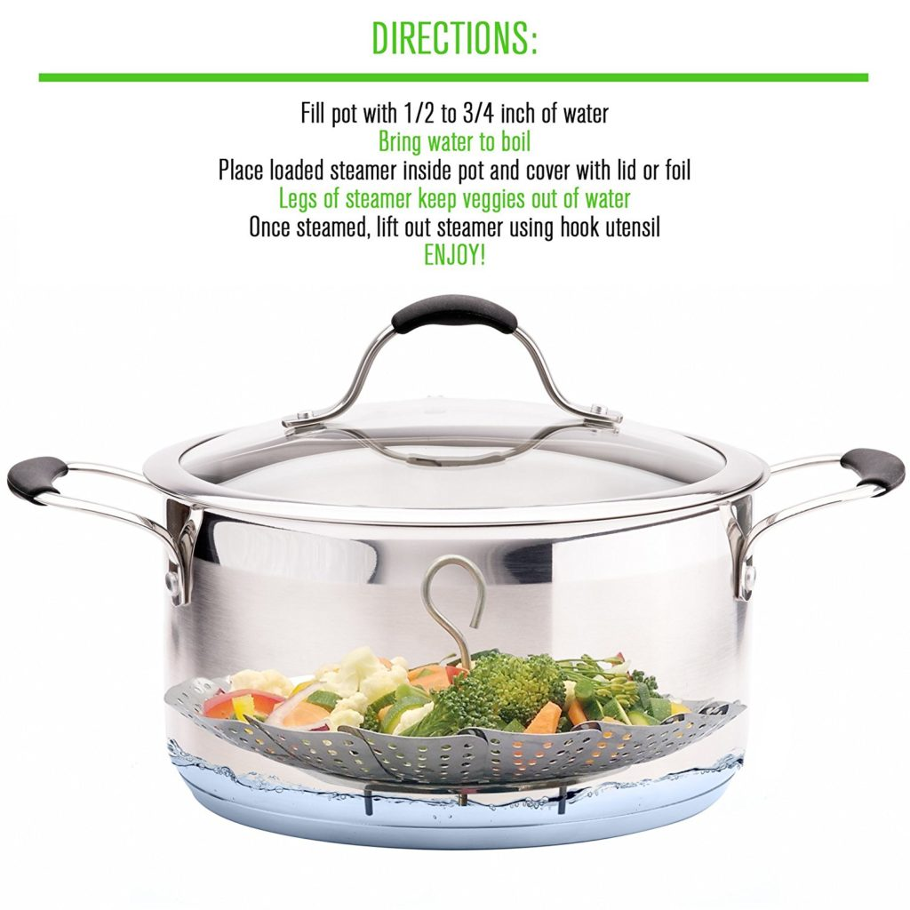 stainless steel vegetable steamer inserted in a pot to steam veggies